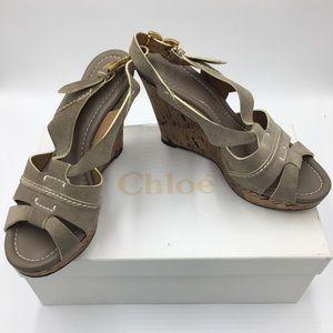 Chloe Renna leather cork wedge slingback heels